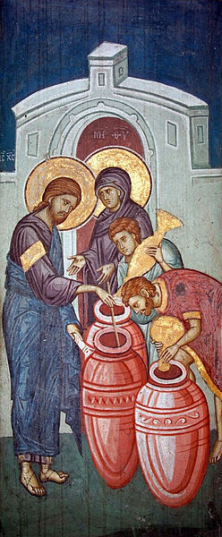 yesus membuat anggur dari air di pernikahan kana,lukisan dari Biara decani visoki abad ke 14
