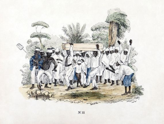 Slave pemakaman di perkebunan, Suriname. Colored litostratigrafi Th. Bray.