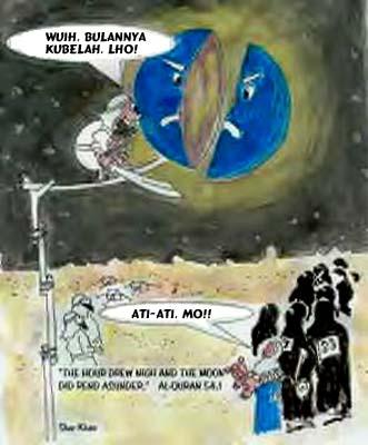 salah satu ejekan situs-situs penghujat islam pada Mukjizat bulan terbelah