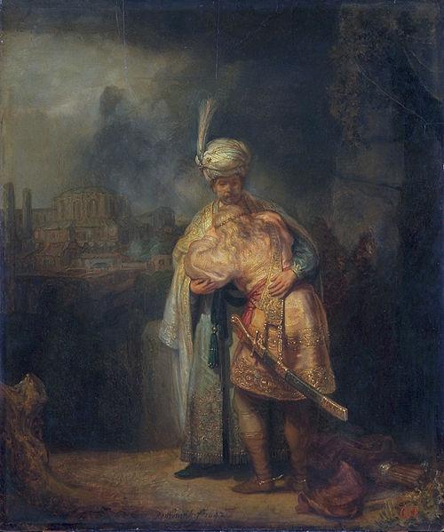"""""""David and Jonathan,"""" (Daud dan Yonatan) lukisan Rembrandt. Yonatan memakai serban"""