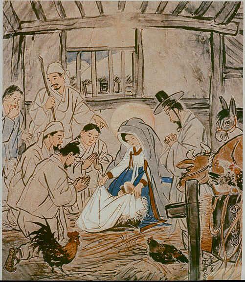 Pelukis Korea, Kim Ki Chang, melukiskan kelahiran Yesus(Wikipedia)