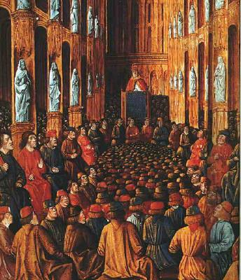 """Konsili Clermont, Paus Urbanus II berkotbah dan terdengar teriakan """"Deus Vult!"""", """"Allah menghendaki""""..suatu kampanye kaum Nasrani menyerang timur tengah Islam"""