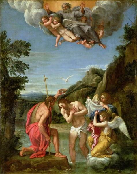"""Lukisan Francesco Albani (abad ke-17) Baptism of Christ (""""Pembaptisan Yesus"""") adalah pengambaran tipikal dengan langit terbuka dan Roh Kudus turun dalam rupa seperti burung merpati"""