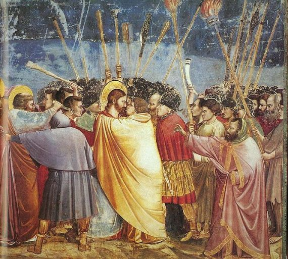 Yudas iskaroit mencium yesus dalam peristiwa penangkapan yesus.Lukisan dari Giotto di Bondone