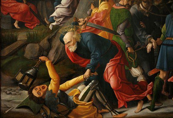 Petrus ketika dalam peristiwa taman Getsemani,menetak telinga Malkhus
