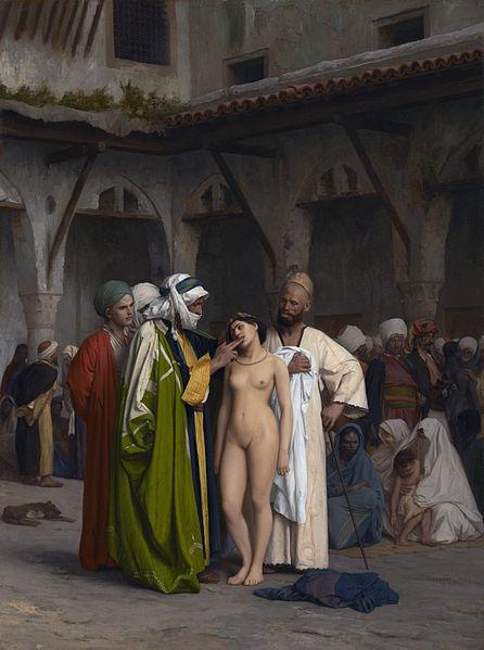 Sebuah lukisan karya Jean-Léon Gérôme tentang jual-beli budak di sebuah pasar di dunia Arab.menurut saya penggambaran itu Hoax.sebab Islam melarang membuka Aurat orang lain.terlihat budak wanita itu di telanjangi.