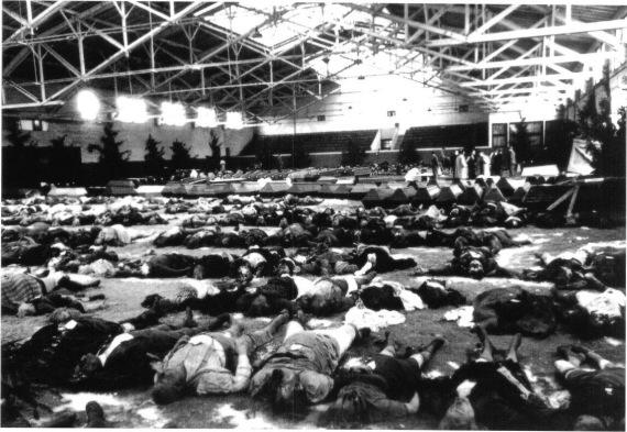 Foto korban perang masa lalu....Berlin, Desember 1943. Para korban pemboman Sekutu dibaringkan di sebuah gimnasium untuk keperluan identifikasi. Suasana Natal masih terasa, terbukti dari banyaknya pohon Natal. Pemboman strategis yang dilancarkan secara membabi-buta oleh Sekutu telah membunuh 750.000 s/d 1 juta penduduk Jerman, yang kebanyakannya rakyat sipil tak berdosa!