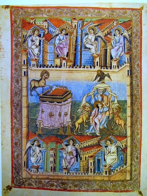 Gambar muka, Kitab Wahyu, Alkitab San Paolo fuori le Mura , abad ke-9.